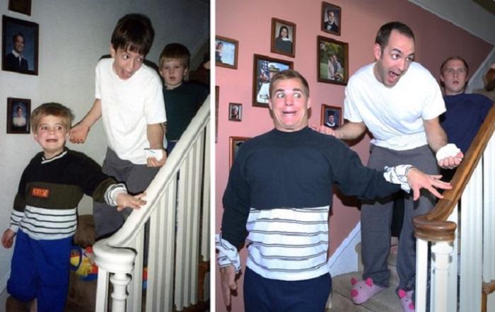 Trois frères recréent des photos hilarantes d'enfance pour un calendrier de Noël pour leur maman.